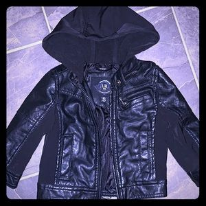 Baby boy faux leather jacket with hood 18 months